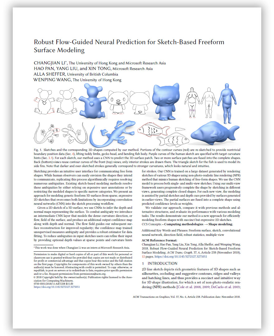 Robust Flow-Guided Neural Prediction for Sketch-Based Freeform